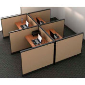 "Compatico CMW Quad Call Center Station w/o Electric 96""W x 96""D x 41""H - Winter Birch Taupe"