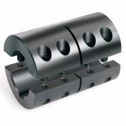 "Two-Piece Clamping Couplings Recessed Screw w/Keyway, 1-1/8"", Black Oxide Steel"