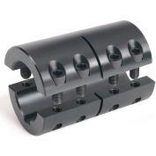 "Two-Piece Industry Standard Clamping Couplings w/Keyway, 3/8"", Black Oxide Steel"