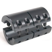 "Two-Piece Industry Standard Clamping Coupling w/Keyway, 1"", Black Oxide Steel"