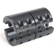 Metric Two-Piece Standard Clamping Couplings w/Keyway, 40mm, Black Oxide Steel