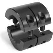 "Two-Piece Clamping Collar Double Wide, 1/2"", Black Oxide Steel"