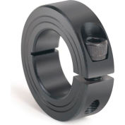 Metric One-Piece Clamping Collar, 25mm, Black Oxide Steel