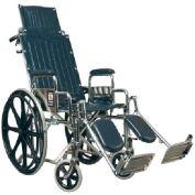 Graham-Field 51012130 Traveler Recliner Wheelchair - 18x17 Detachable Desk Arms, Elevating Legrest