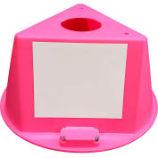 Inventory Control Cone, 3 Sided with Magnets & Dry Erase Decals - Hot Pink