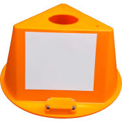 Inventory Control Cone, 3 Sided with Magnets & Dry Erase Decals - Orange