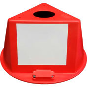Inventory Control Cone, 3 Sided with Magnets & Dry Erase Decals - Red