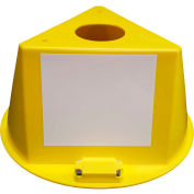 Inventory Control Cone, 3 Sided with Magnets & Dry Erase Decals - Yellow
