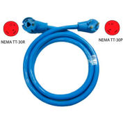 Conntek 14361, 25-Feet 30-Amp Straight Blade RV Extension Cord with NEMA TT-30P/R, Blue
