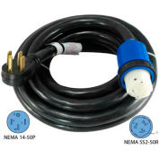 Conntek 14455-25, 25', 50A, 6/3 + 8/1 STW, RV Detachable Power Cord with NEMA 14-50P to NEMA SS2-50R