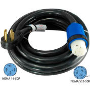 Conntek 14459, 50', 50A, 6/3 + 8/1 STW, RV Detachable Power Cord with NEMA 14-50P to NEMA SS2-50R