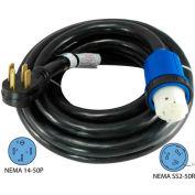 Conntek 14459, 50', 50A, 6/3 + 8/1 STW, RV Detachable Power Cord with NEMA 14-50P to NEMA SS2-50R