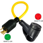 Conntek 15827, 1.5', 20A, Ergo Grip RV Generator Adapter, NEMA L5-20P to NEMA TT-30R