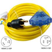 Conntek 20311-025,  25', 30A, Generator Locking Ext. Cord w/NEMA L5-30P to 5-15R*3, Lighted End