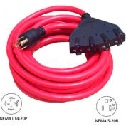 Conntek 20501, 25', 20A Generator Locking Extension Cord with NEMA L14-20P to 15/20R*4, Red