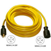 Conntek 20591, 25', 20A, Generator Power/Extension Cord with NEMA L14-20P to L14-20R
