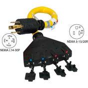 Conntek 20611-018, 1.5', 30A, Generator Power Cord with NEMA L14-30P to 5-15/20R*4