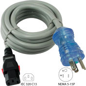 Conntek 27170, 8', 13-Amp, 16/3 SJTW Hospital/Medical Grade Cord with Push Lock IEC C13
