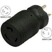 Conntek 30114, 20 to 20-Amp Locking Adapter with NEMA 5-20P to L5-20R, Black