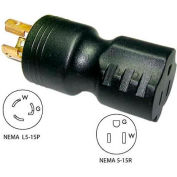 Conntek 30120, 15 to 15-Amp Locking Adapter with NEMA L5-15P to 5-15R, Black