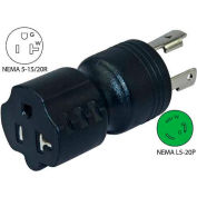 Conntek 30123-BK, 20 to 15/20-Amp Generator Locking Adapter with NEMA L5-20P to 5-15/20R, Black
