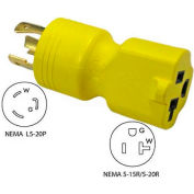Conntek 30123, 20 to 15/20-Amp Generator Locking Adapter with NEMA L5-20P to 5-15/20R, Yellow
