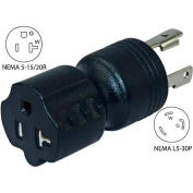 Conntek 30126-BK, 30 to 15/20-Amp Generator Locking Adapter with NEMA L5-30P to 5-15/20R, Black