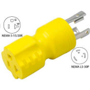 Conntek 30126, 30 to 15/20-Amp Generator Locking Adapter with NEMA L5-30P to 5-15/20R, Yellow