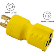 Conntek 30128, 15 to 15/20-Amp Locking Adapter with NEMA L5-15P to 5-15/20R, Yellow