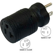 Conntek 30129 15 to 15/20-Amp Straight Blade Adapter with NEMA 5-15P to 5-15/20R, Black