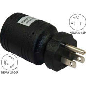 Conntek 30221-BK, 15 to 20-Amp Locking Adapter with NEMA 5-15P to L5-20R, Black