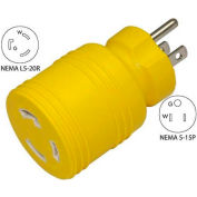 Conntek 30221-YW, 15 to 20-Amp Locking Adapter with NEMA 5-15P to L5-20R, Yellow