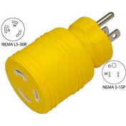 Conntek 30222-YW, 15 to 30-Amp Locking Adapter with NEMA 5-15P to L5-30R, Yellow