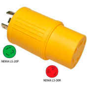 Conntek 30223-YW, 20 to 30-Amp Generator Locking Adapter with NEMA L5-20P to L5-30R, Yellow