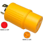 Conntek 30224-YW, 30 to 20-Amp Generator Locking Adapter with NEMA L5-30P to L5-20R, Yellow