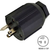Conntek 60129, 15A Assembly Straight Blade Plug with NEMA 5-15P Male End, 2 Pole-3 Wire