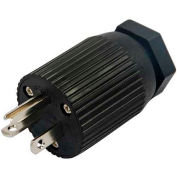 Conntek 60141, 20-Amp Assembly Straight Blade Plug with NEMA 5-20P Male End, 2 Pole- 3 Wire