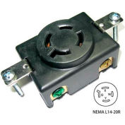 Conntek 80615, 20A 4-Prong Locking Single Flush Receptacle w/ NEMA L14-20R Female End, 3 Pole-4 Wire