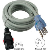 Conntek 8F515LC13, 15A, Power Supply Cord with Push Lock, NEMA 5-15P to IEC C19