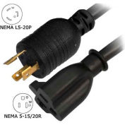 Conntek 8FL520520, 8-Ft 20-Amp Locking Extension Cord with NEMA L5-20P to NEMA 5-15/20R