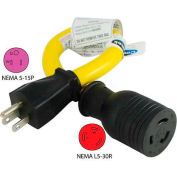 Conntek P515L530, 15 to 30-Amp Locking Generator Adapter with NEMA 5-15P to L5-30R, Yellow