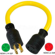 Conntek PL1430L530, 30 to 30-Amp Generator Locking Adapter with NEMA L14-30P to L5-30R, Yellow