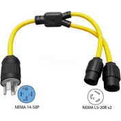 Conntek Y1450520, 3', 50 to 20-Amp Generator Y Adapter with NEMA 14-50P to L5-20R, Yellow