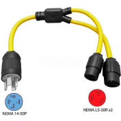 Conntek Y1450530, 3-Feet 50 to 30-Amp Generator/RV Y Adapter with NEMA 14-50P to L5-30R, Yellow