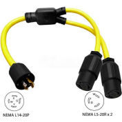 Conntek YL1420520, 3-Feet 20 to 20-Amp Generator Y Adapter with NEMA L14-20P to L5-20R*2, Yellow