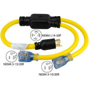 Conntek YL1430520S, 3-Feet 30 to 15/20-Amp Generator Y Adapter with NEMA L14-30P to 5-15/20R, Yellow
