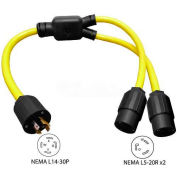 Conntek YL1430520, 3-Feet 30 to 20-Amp Generator Y Adapter with NEMA L14-30P to L5-20R*2, Yellow