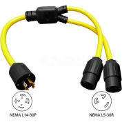 Conntek YL1430530, 3-Feet 30-Amp Generator Y Adapter with NEMA L14-30P to L5-30R*2 , Yellow