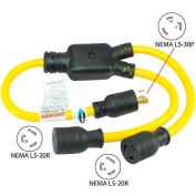 Conntek YL530520, 3', 30 to 20-Amp Generator Y Adapter with NEMA L5-30P to L5-20R*2, Yellow
