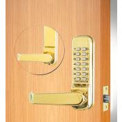 "Codelocks Mechanical Tubular Lockset w/2-3/4"" Latch, CL415-PB, Code Free/Passage, Polished Brass"